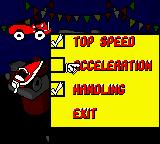 Mickey's Racing Adventure Game Boy Color This menu allows you to upgrade various stats for your selected vehicle