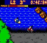 Mickey's Racing Adventure Game Boy Color When you drive onto water, your car magically transforms into a boat