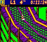 Mickey's Racing Adventure Game Boy Color Goofy in one of the later races, a gigantic rollercoaster