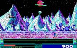 Revenge of Defender DOS game in progress - EGA