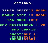 NBA Jam Game Gear Options