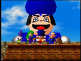 Mystical Ninja Starring Goemon Nintendo 64 Our four heroes pose, with Impact behind them