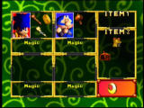 Mystical Ninja Starring Goemon Nintendo 64 The pause screen shows your available friends, as well as the items you have