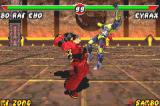 Mortal Kombat: Tournament Edition Game Boy Advance Bo' Rai Cho uses his Belly Bash move against Cyrax, connecting successfully its frontal hit.