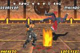 Mortal Kombat: Tournament Edition Game Boy Advance Practice session showing Scorpion using his move Summon Hellfire against Mavado.