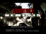 Resident Evil 3: Nemesis Dreamcast Title screen