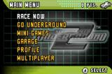 Need for Speed: Underground 2 Game Boy Advance Menu screen.