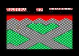 Gyroscope Amstrad CPC Level 6 start. The green tiles are directional, you cross them only in one direction.