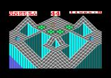 Gyroscope Amstrad CPC Level 7 start, a nightmare. Very hard to cross the green tiles without falling behind.