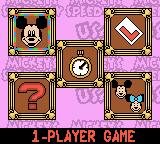 Mickey's Speedway USA Game Boy Color Main menu