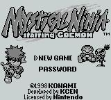 Mystical Ninja Starring Goemon Game Boy Title screen
