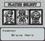 Mystical Ninja Starring Goemon Game Boy Character select screen