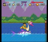 The Flintstones: The Treasure of Sierra Madrock SNES Riding a giant fish