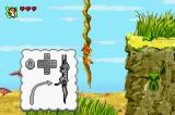 Disney's The Lion King 1 ½ Game Boy Advance Climbing a vine.  In the first level, there will be instructions laid around so you know what you are doing.