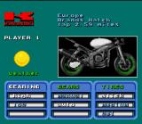 Kawasaki Superbike Challenge SNES Setup screen.