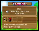Mario Golf Nintendo 64 The Transmit Menu will appear before the game starts if your Transfer Pak is in the system