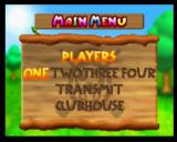 Mario Golf Nintendo 64 Main Menu ('Transmit' becomes 'Continue' if you don't use the Transfer Pak)
