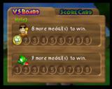 Mario Golf Nintendo 64 The score card shows how many matches you need to win