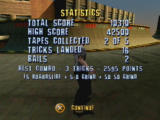 Tony Hawk's Pro Skater PlayStation End of level score sheet
