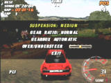 Need for Speed: V-Rally PlayStation Modifing the car setup midrace.