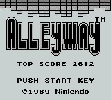 Alleyway Game Boy Title Screen