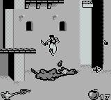 Disney's Aladdin Game Boy Jumping on the camel makes it spit a projectile at enemies