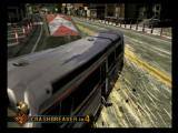 Burnout 3: Takedown PlayStation 2 Bus crash shown during a crash event where the objective is to create the most property damage possible.  This time the bus crashes a little early and doesn't make the ramp for a big crash location.