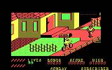 Paperboy DOS avoid the construction worker. - CGA