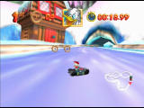 Mickey's Speedway USA  Nintendo 64 Driving into snowdrifts on the track will slow you right down