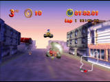Mickey's Speedway USA  Nintendo 64 The bubble around Mickey shows that he is invincible