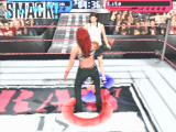 WWF Smackdown! 2: Know Your Role PlayStation The Smackdown logo indicates a finishing move can be performed.