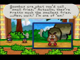 Paper Mario Nintendo 64 Goombario's special ability is to tattle on enemies, revealing their HP and weak points