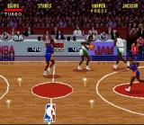 NBA Jam SNES The commentators watch all the action