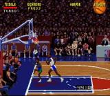 NBA Jam SNES Mix-up near the net. Why is everyone wearing blue?