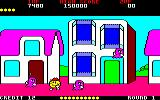 Pac-Land Amstrad CPC A purple ghost that Pac-Man can eat