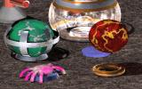 Funball DOS The Spider from the game, the Green and Red player balls and different bases and board items