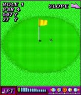 Rayman Golf J2ME On the green, the slope is to the right.