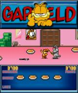 Garfield: Robocats from Outer Space! J2ME Second level with bigger robot cats. There is a weapon to the left.