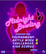 Midnight Bowling J2ME Main game screen. Some modes are only unlocked when you progress in the tournament.