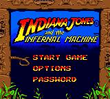 Indiana Jones and the Infernal Machine Game Boy Color The menu screen with some basic settings.
