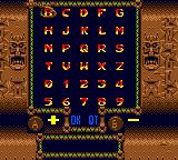 Indiana Jones and the Infernal Machine Game Boy Color Password screen. Insert the correct sequence and continue your current adventure!