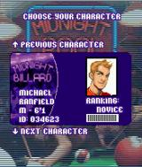Midnight Pool J2ME Character selection screen