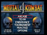 Mortal Kombat 4 PlayStation Title screen / Main menu