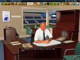 Ultimate Soccer Manager 2 DOS The chairman. The trophy shelf gets more trophies as you win competitions.