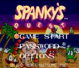 Spanky's Quest SNES Title screen / Main menu.