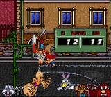 Looney Tunes B-Ball SNES There's no rule against jumping through the net after the ball