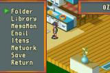 Mega Man Battle Network Game Boy Advance The pause menu lets you check status and other info