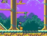 Deep Duck Trouble starring Donald Duck SEGA Master System If you whack the vine with the brick, it will lower and you'll be able to climb it