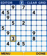 JAMDAT Sudoku J2ME The editor where you can enter sudokus from external sources or design one yourself.
