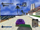 Need for Speed III: Hot Pursuit PlayStation Scraping past traffic in zoomed-up third-person view.